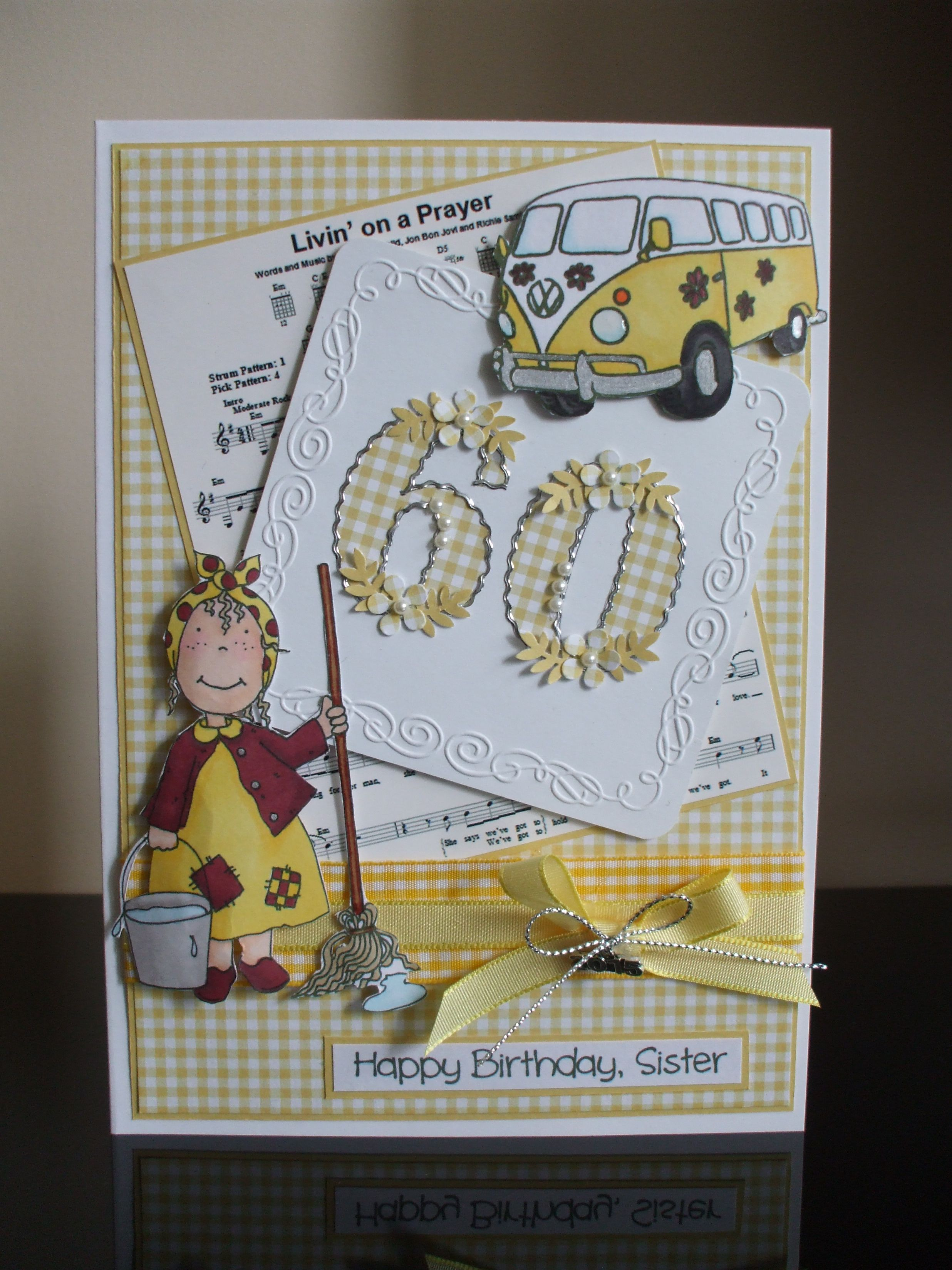 Handmade 60th birthday card, sister (With images) 60th