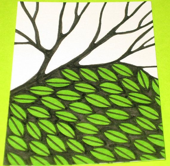 Original Drawing ACEO  Black and White Tree and Green Leaves Design