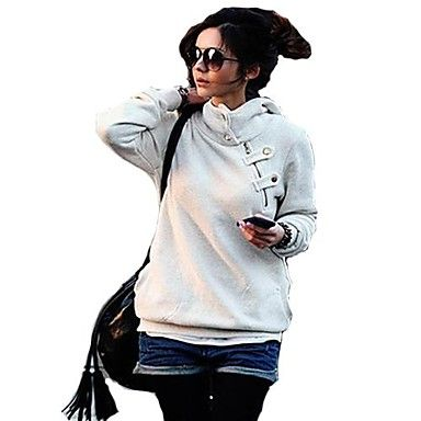 KissTies®Women's Solid Turtleneck Oblique Placket Scratched Velvet Hooded Jacket – EUR € 14.54