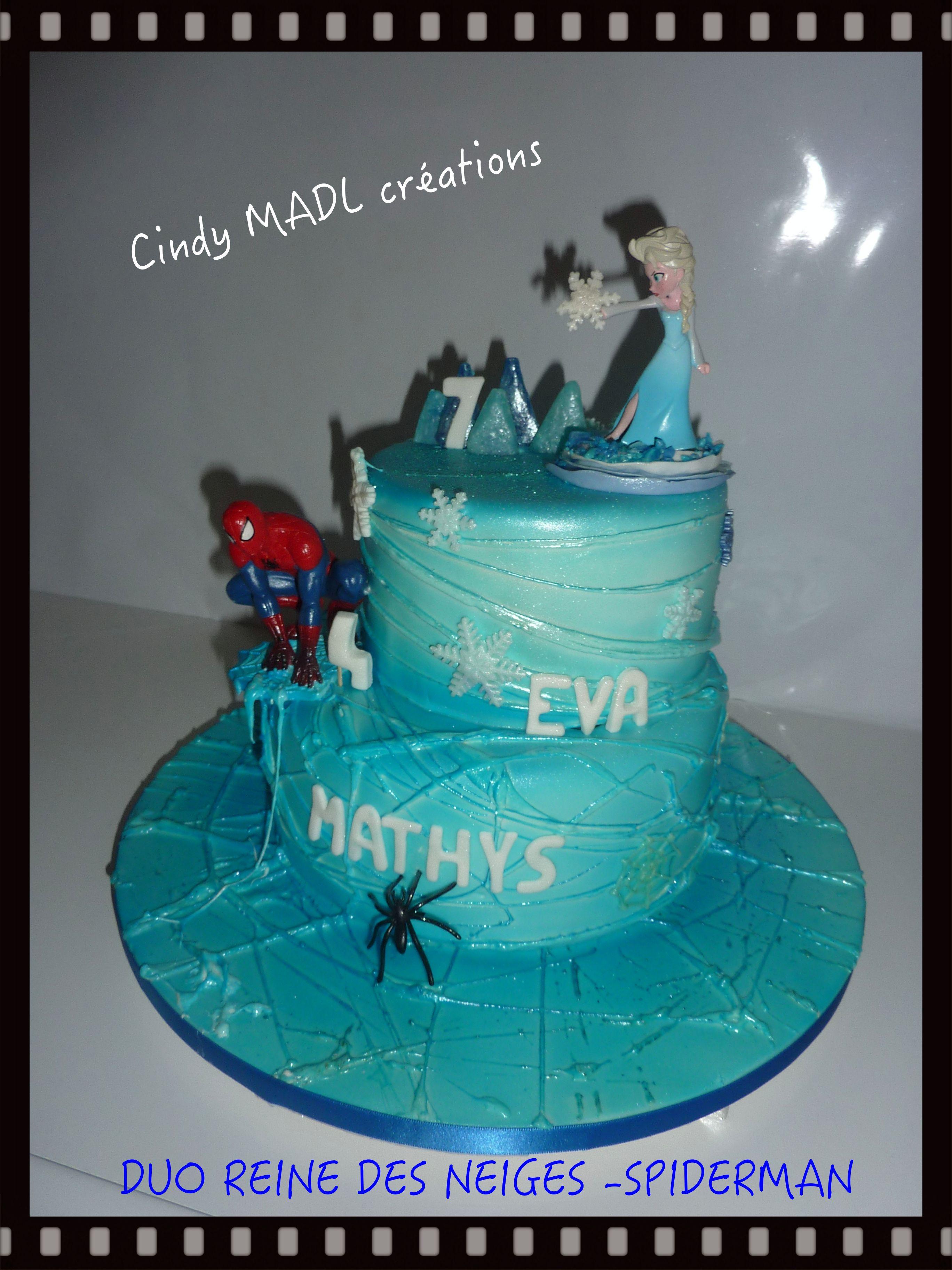 Spider Man Et La Reine De Neige : spider, reine, neige, Mixte, Reine, Neiges, Spiderman, Desserts,, Cake,