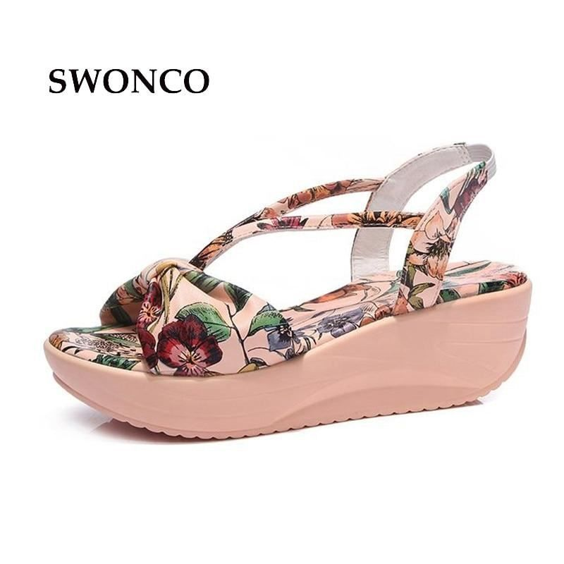 77a77cc01 SWONCO Women s Sandals Genuine Leather 5.5cm Thick Sole Woman Shoes ladies  Shoes
