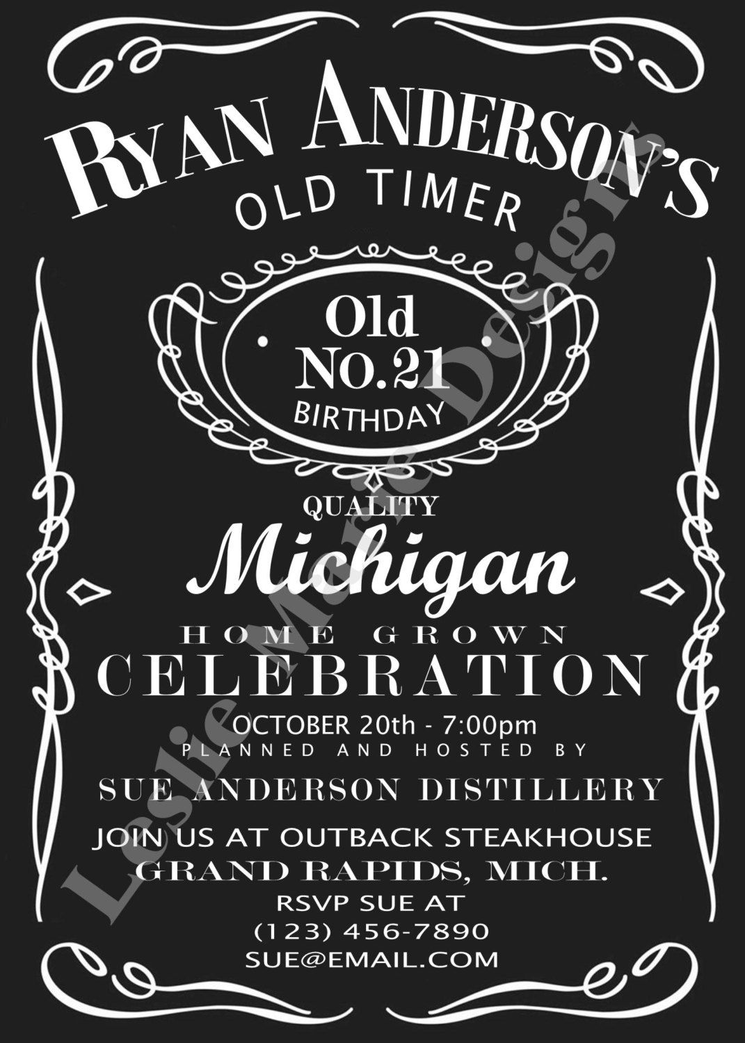 Jack Daniels Label Printable Birthday Invitation And Party Supplies 2500 Via Etsy