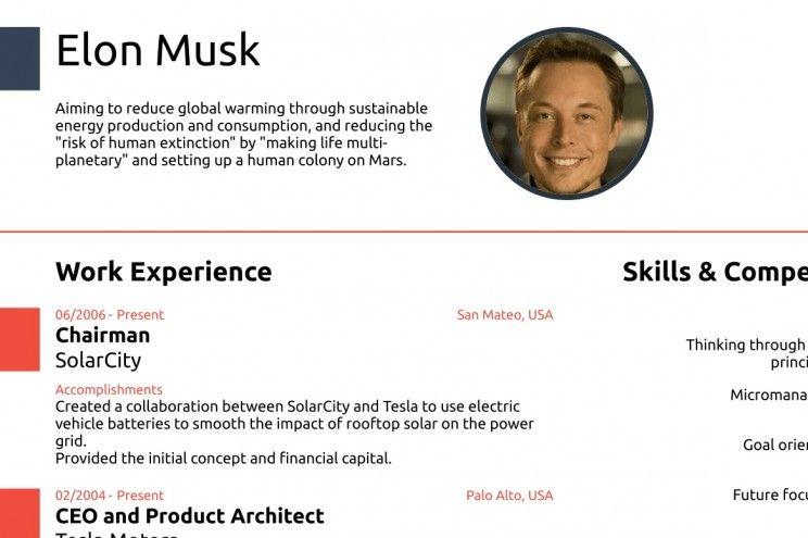 Elon musk cv job resume samples elon musk