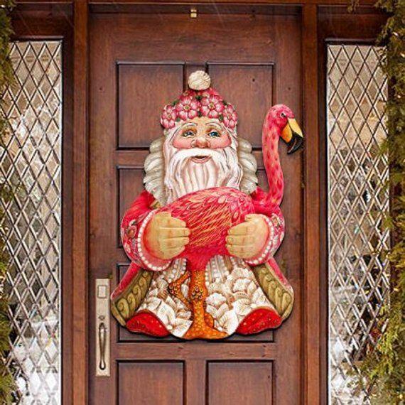 Christmas Decor Santa in Paradise \u2013 Wooden Door Hanger, Wall