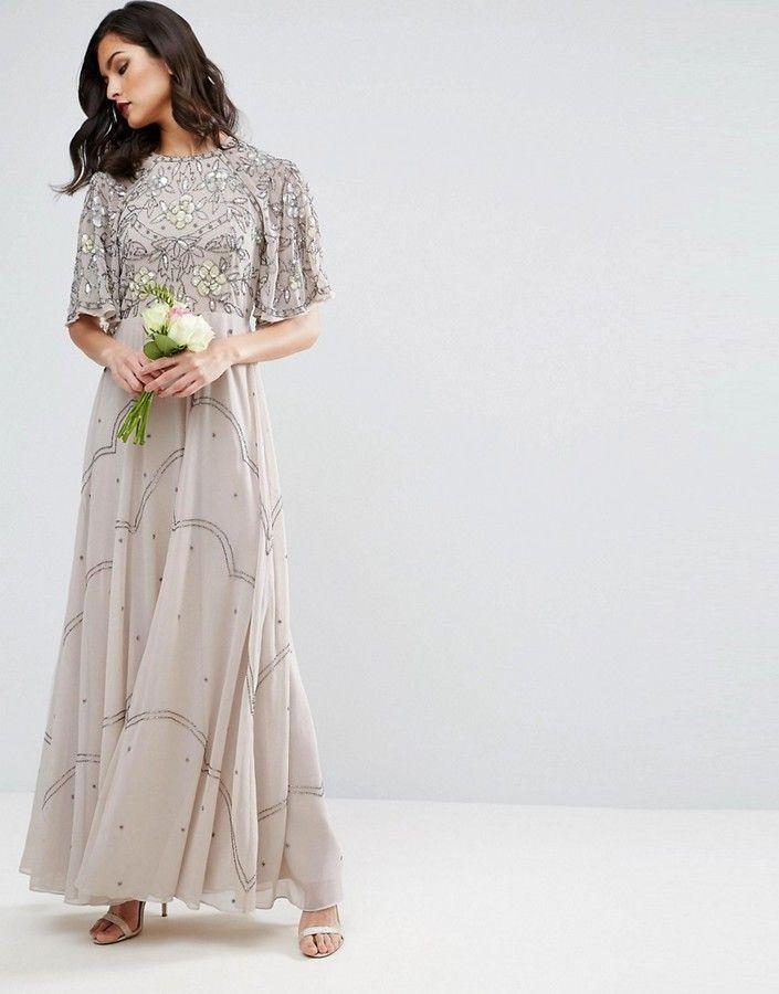 ASOS WEDDING Embellished Floral Flutter Sleeve Maxi Dress