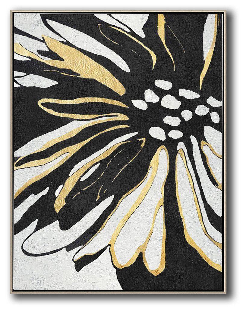 Minimal flower art mn306b from cz art design abstract art black white and gold minimalist art celineziangart