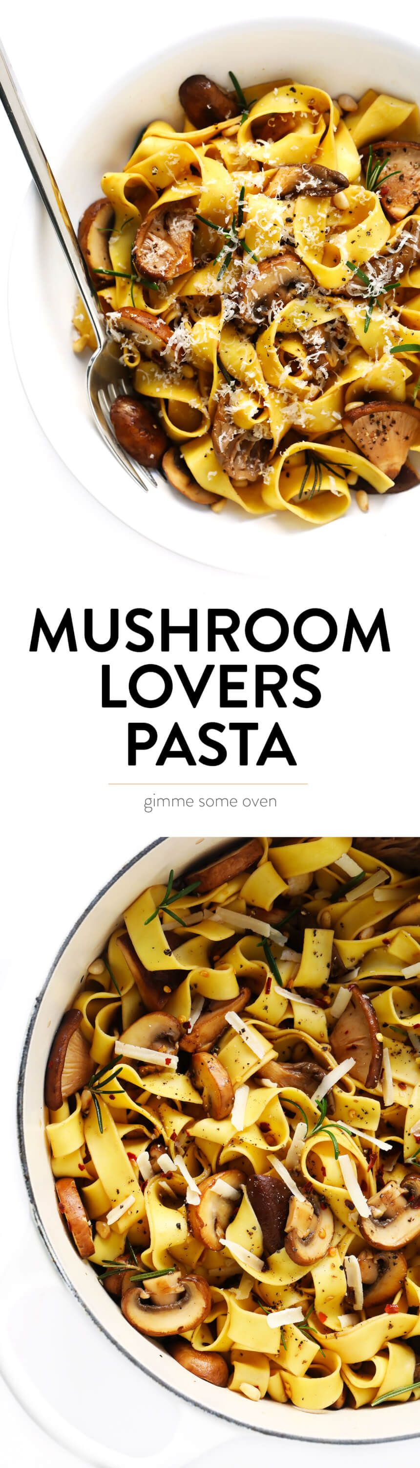 This Mushroom Lovers Pasta recipe is tossed with a heavenly rosemary balsamic butter sauce, lots of