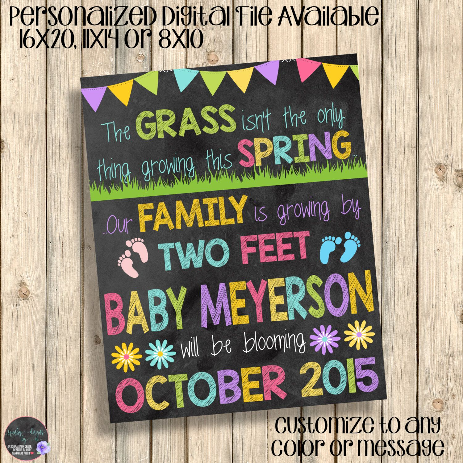 Spring Chalkboard Pregnancy Announcement Sign, Grass Not Only ...
