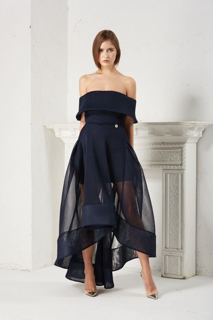 Tulip Gown-with Off shoulder mesh dress with open back cut out ...