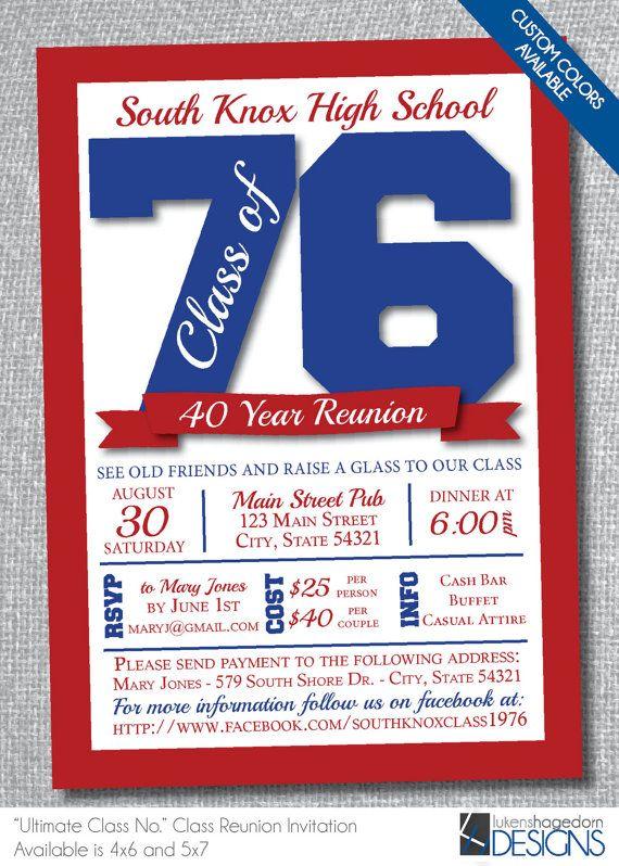 Class Reunion Invitation - Custom School Colors - Digital File Only