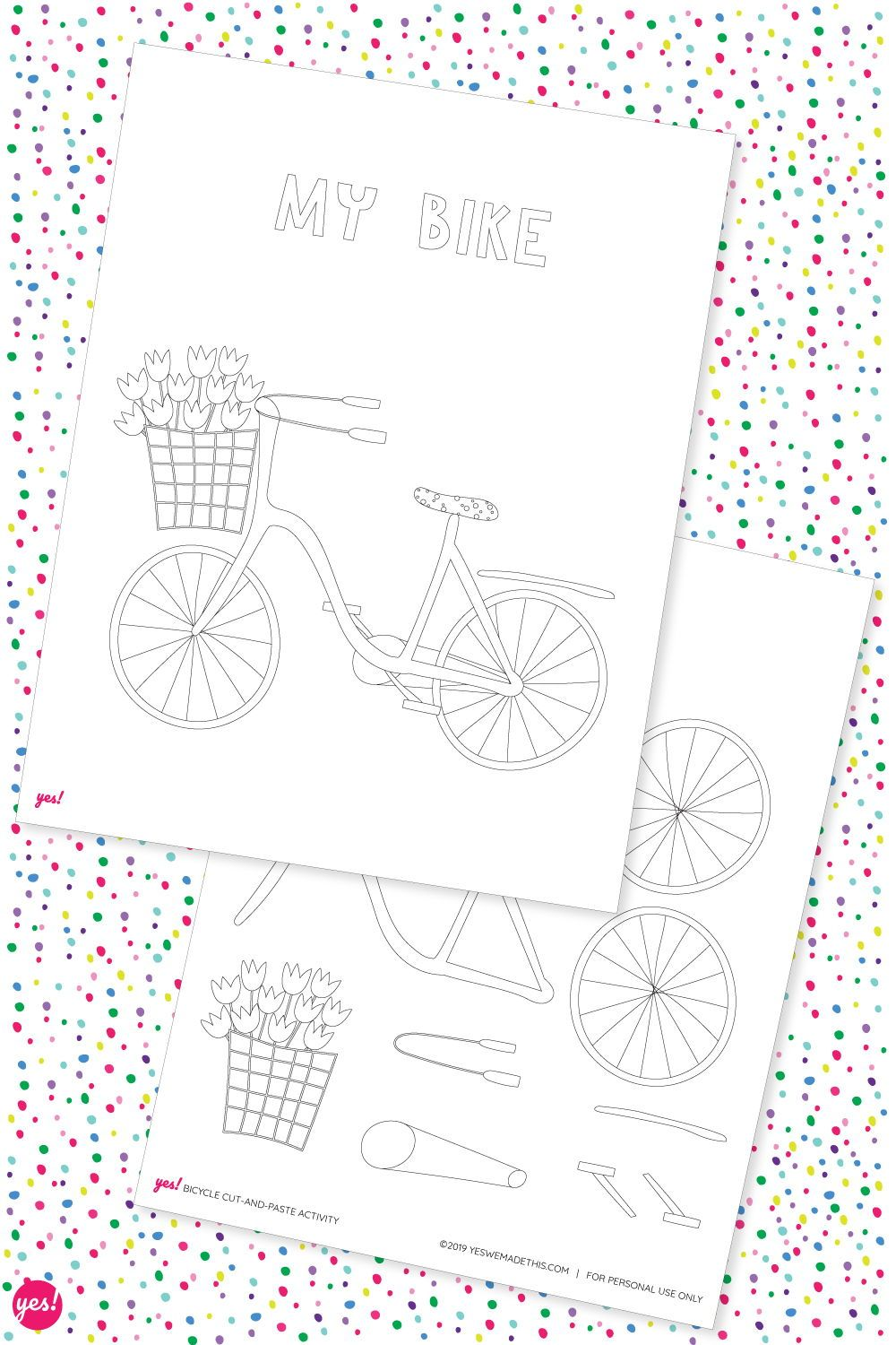 Bicycle Coloring Page Bonus Activity Coloring Pages Free
