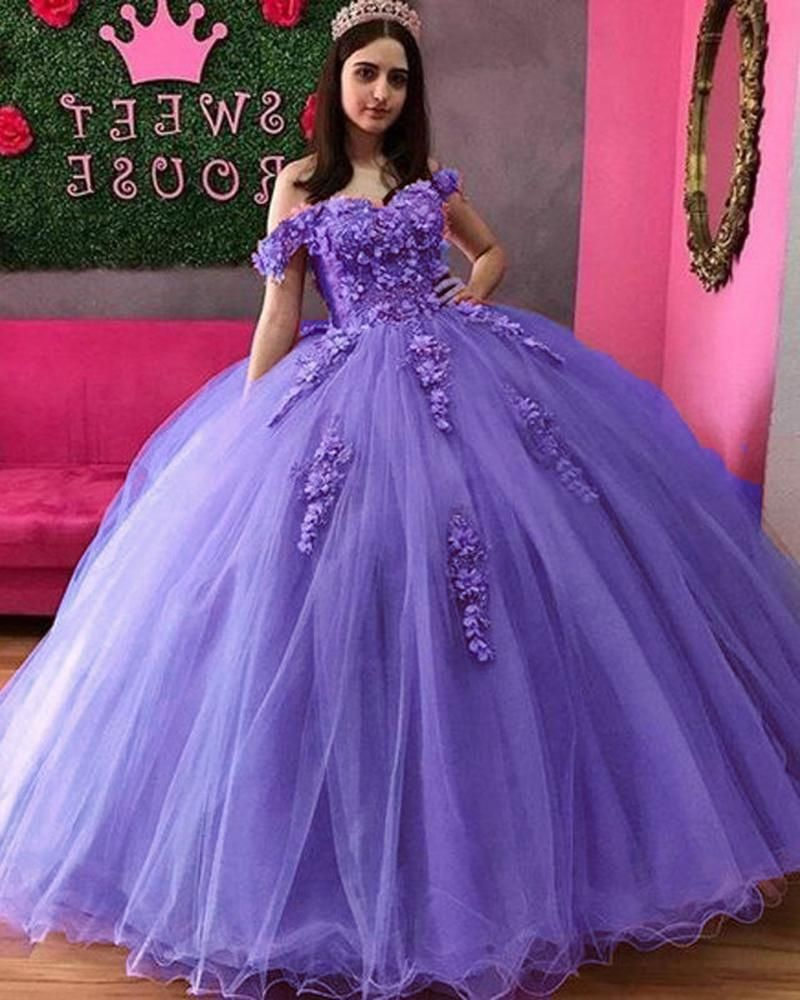 Lavender Pink Charming Vestidos De 15 Quinceanera Dresses 3d Applique Puffy Skirt Lace Up Back Sweet 16 Party Dress Long Prom Gowns Pl10303 In 2021 Sweet 16 Party Dress Quinceanera Dresses Party Dress Long [ 1000 x 800 Pixel ]