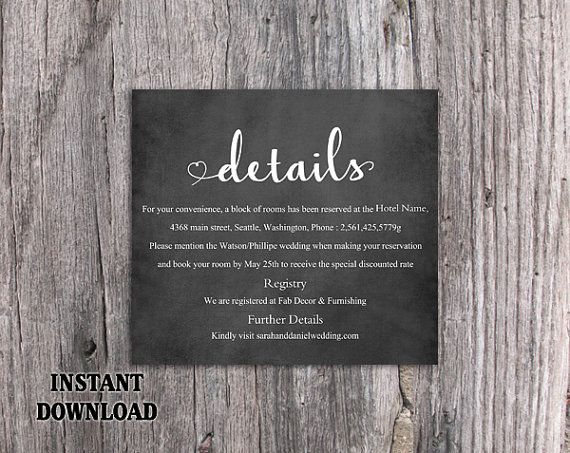 Diy Wedding Details Card Template Editable Word File Instant