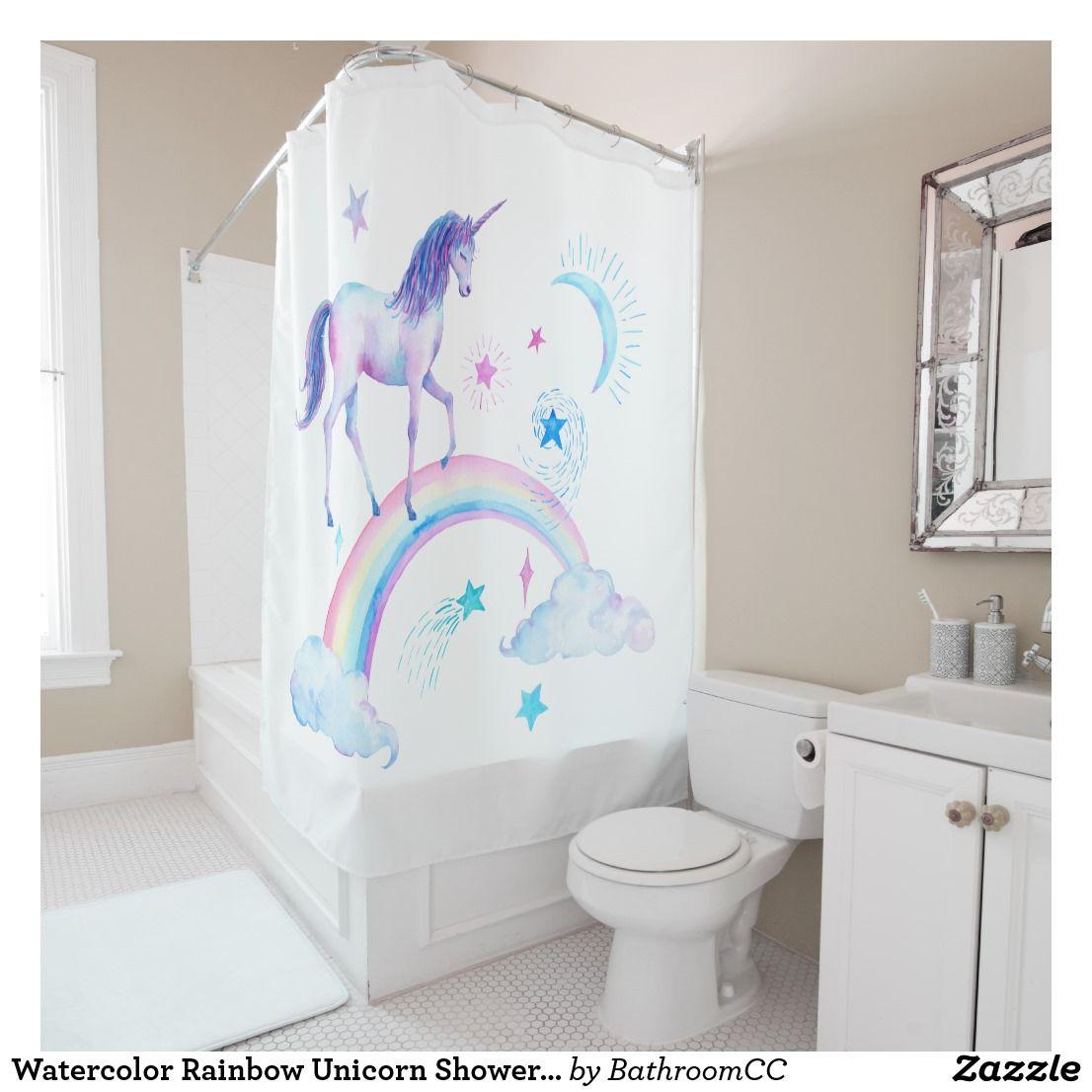 Watercolor Rainbow Unicorn Shower Curtain   Bath:Shower Curtains ...