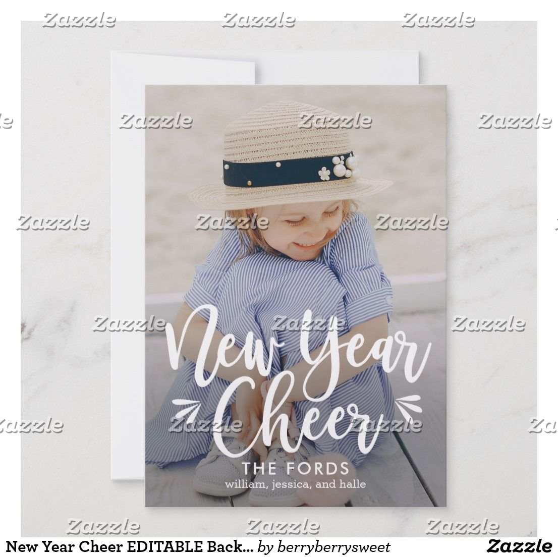 New Year Cheer EDITABLE Back Color New Year Card | Holiday ...