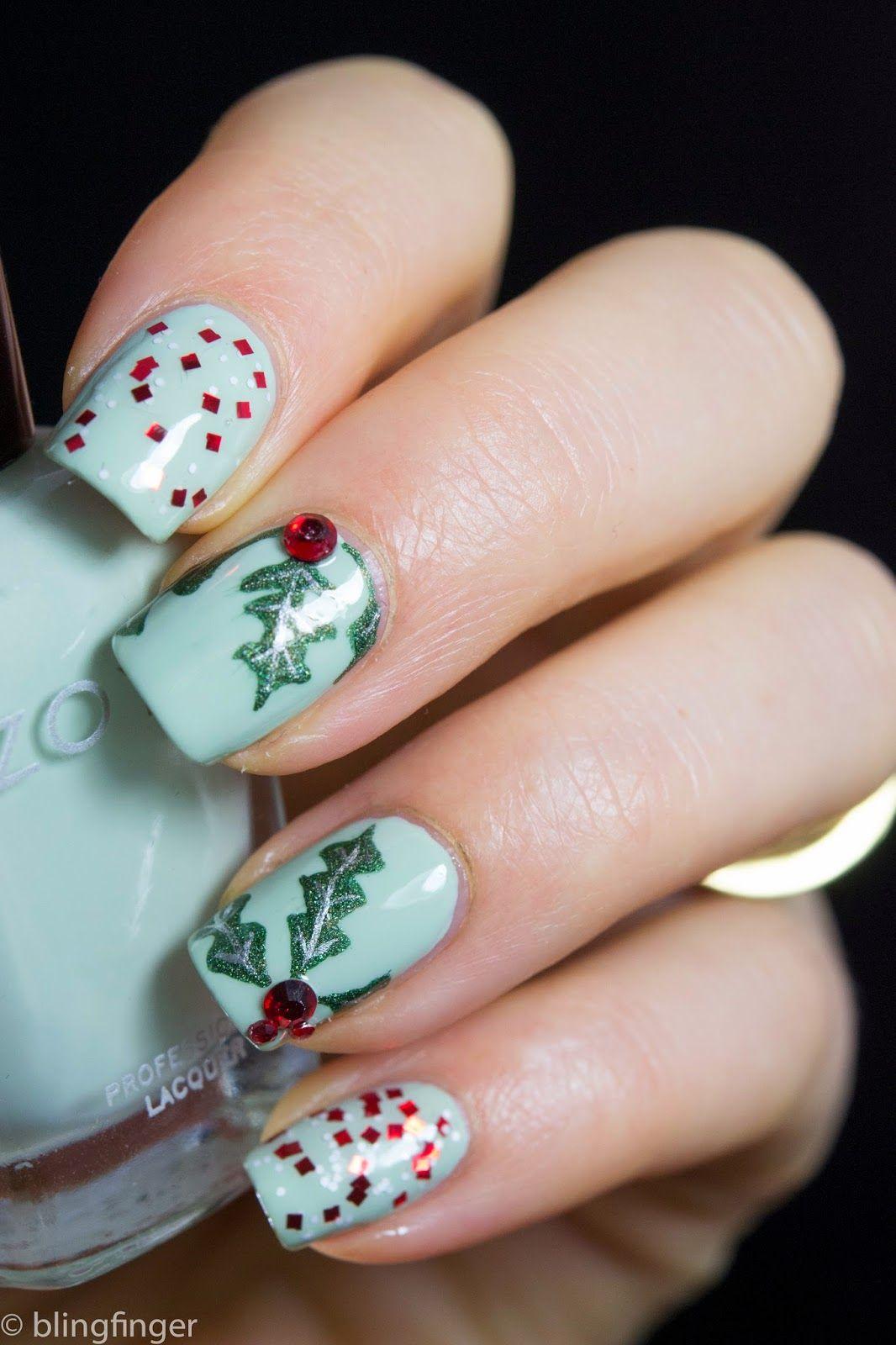 Christmas Holly Nail Art Nails Uas Pinterest Nails