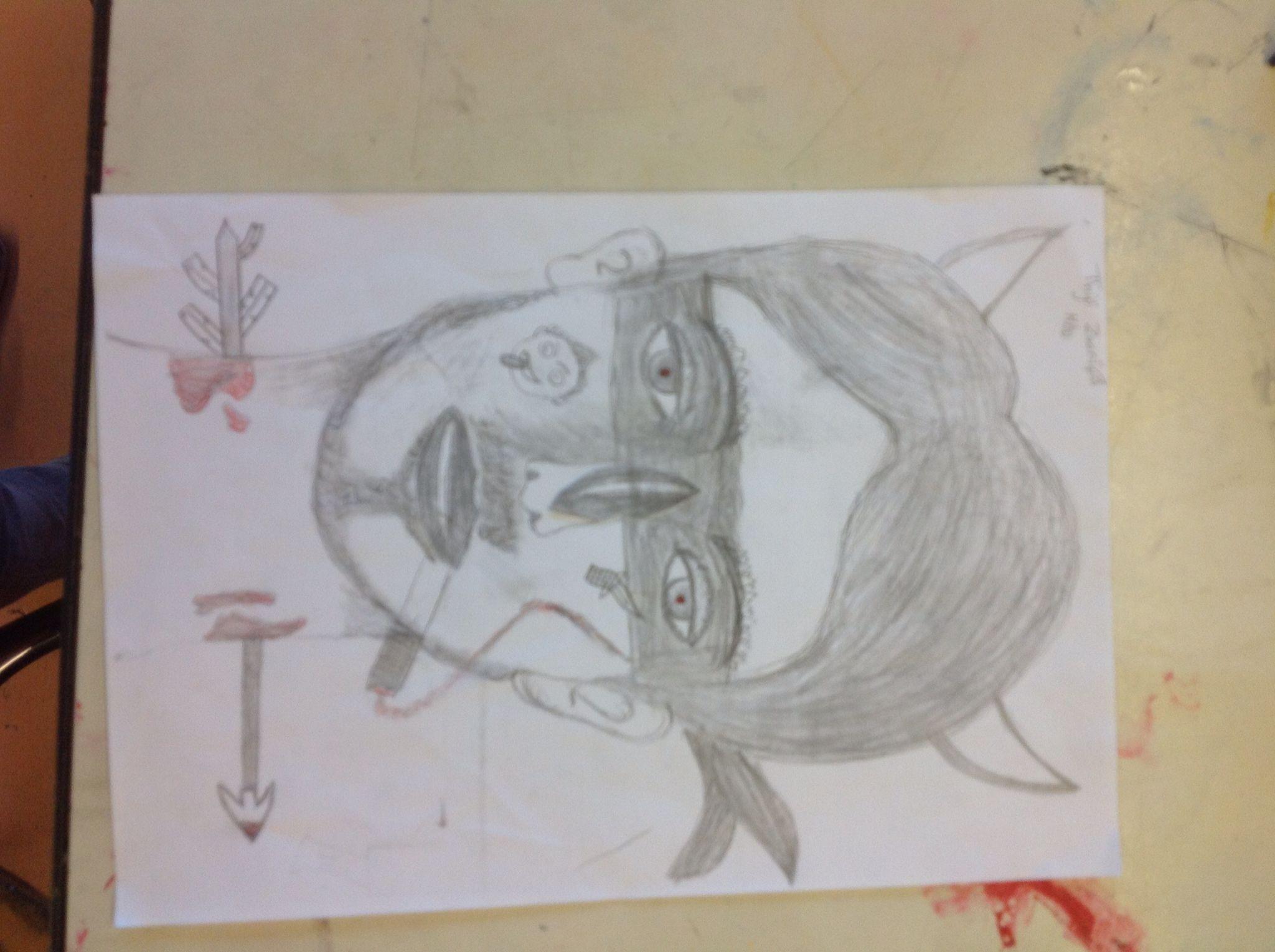 Mijn zelf portret is ver gekt.