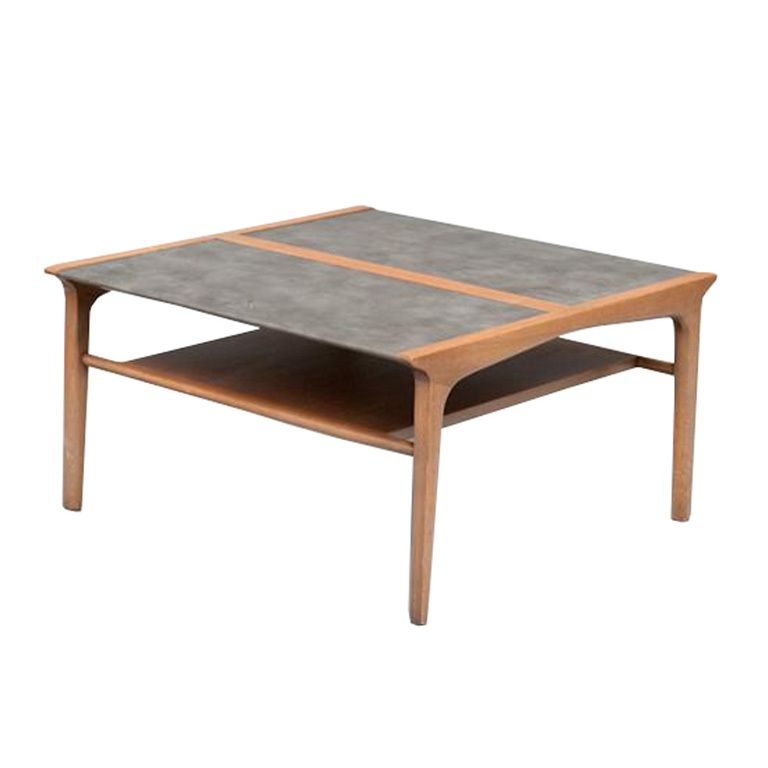1950s A Vintage Coffee Or Tail Table From The Drexel Profile Collection By John Van Koert Piece Has Two Tiers With Top Wred In Grey Leather