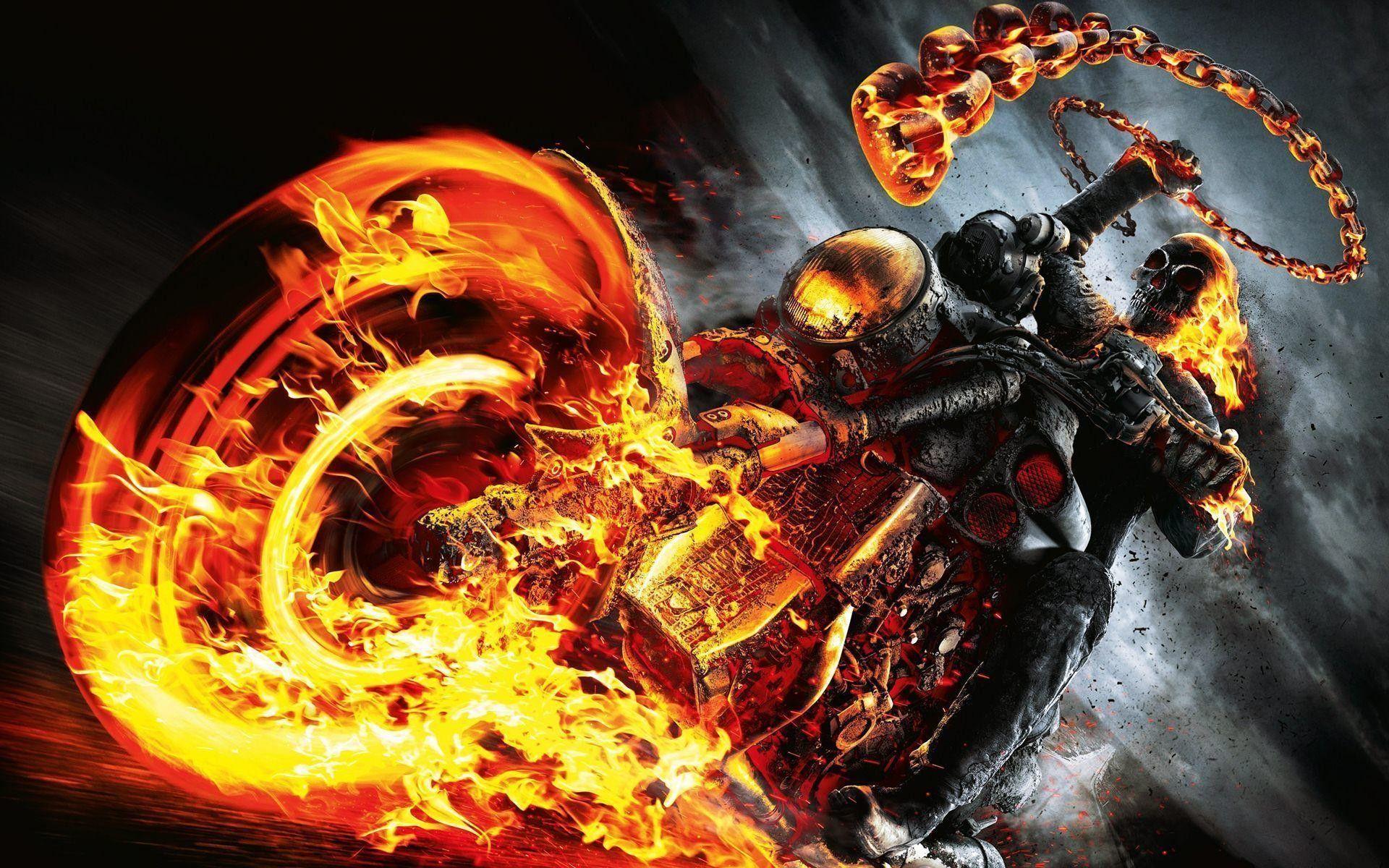 1920x1200 Ghost Rider Spirit Of Vengeance Skull Fire Bike