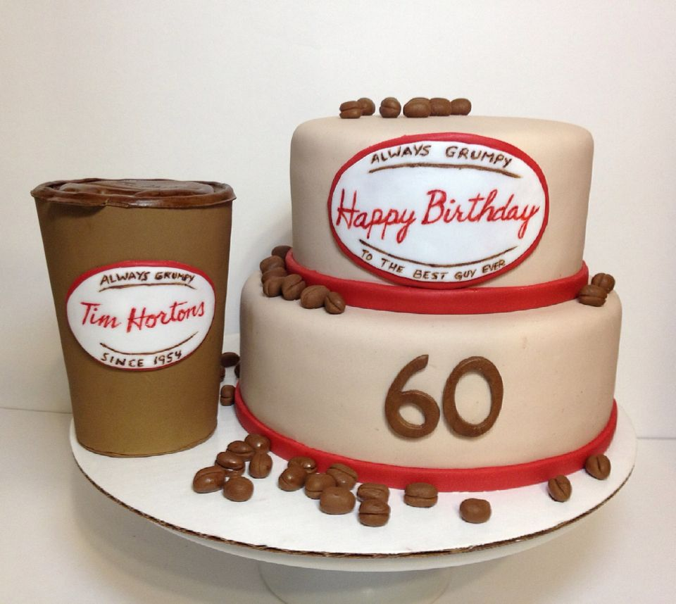 Tim Hortons Cake 2 Tier Cake With Fondant Coffee Beans And Gum