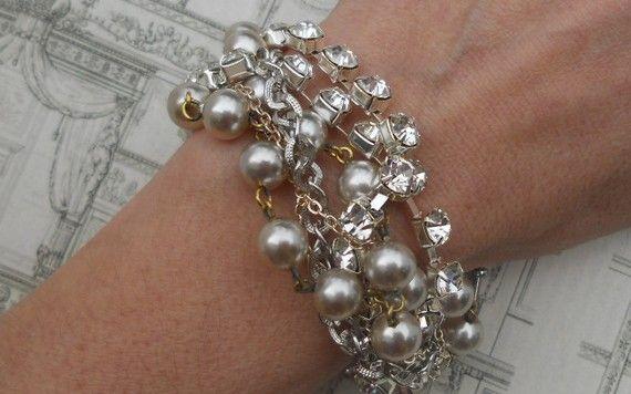 Rhinestone Pearl Bracelet Multi Chain Chunky by AllThingsTinsel, $58.00