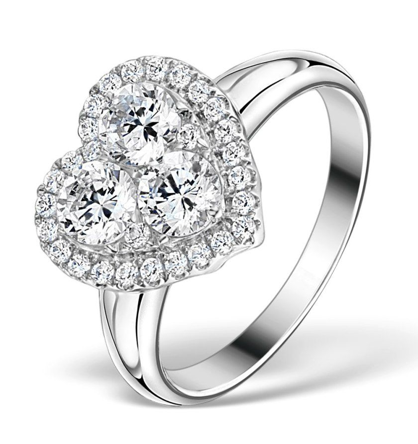 Lady Gaga style diamond heart engagement ring also seen on Nicky