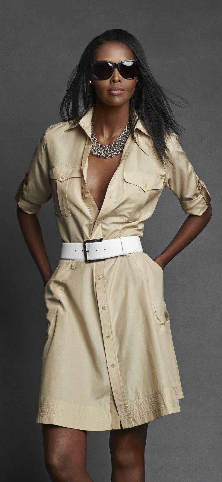 robe chemise safari ralph lauren black label confectionn e dans un m lange l ger de soie et de. Black Bedroom Furniture Sets. Home Design Ideas