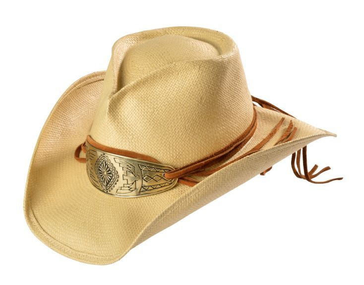 582f83f6afa0a Shady Brady Native American Gold-Tone Concho Crushable Straw Cowboy Hat  available at  Sheplers