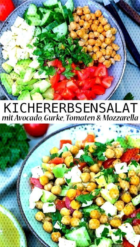 Chickpea salad with avocado, cucumber, tomatoes, mozzarella and lemon vinaigrette - Recipe Summer