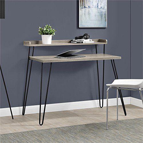 Ameriwood Home Haven Retro Desk With Riser Weathered Oak Farmhouse Goals Altra Furniture Home Decor Retro Home