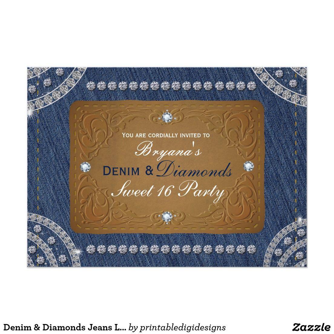 Diamond Wedding Invitation Label: Denim & Diamonds Jeans Label Party Invitations