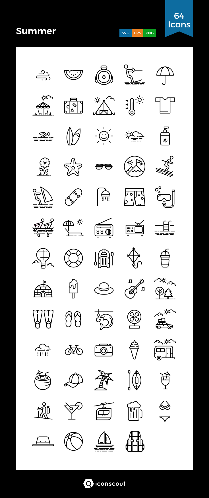 9a8620885 Summer Icon Pack - 64 Line Icons | Seasons | Doodle icon, How to ...