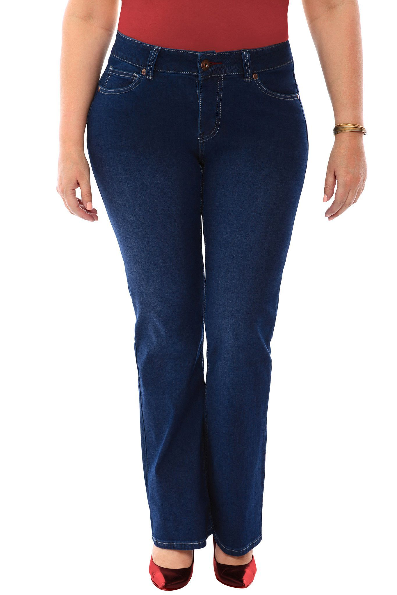 360 Stretch MidRise Straight Denim Jeans in Blue Depths