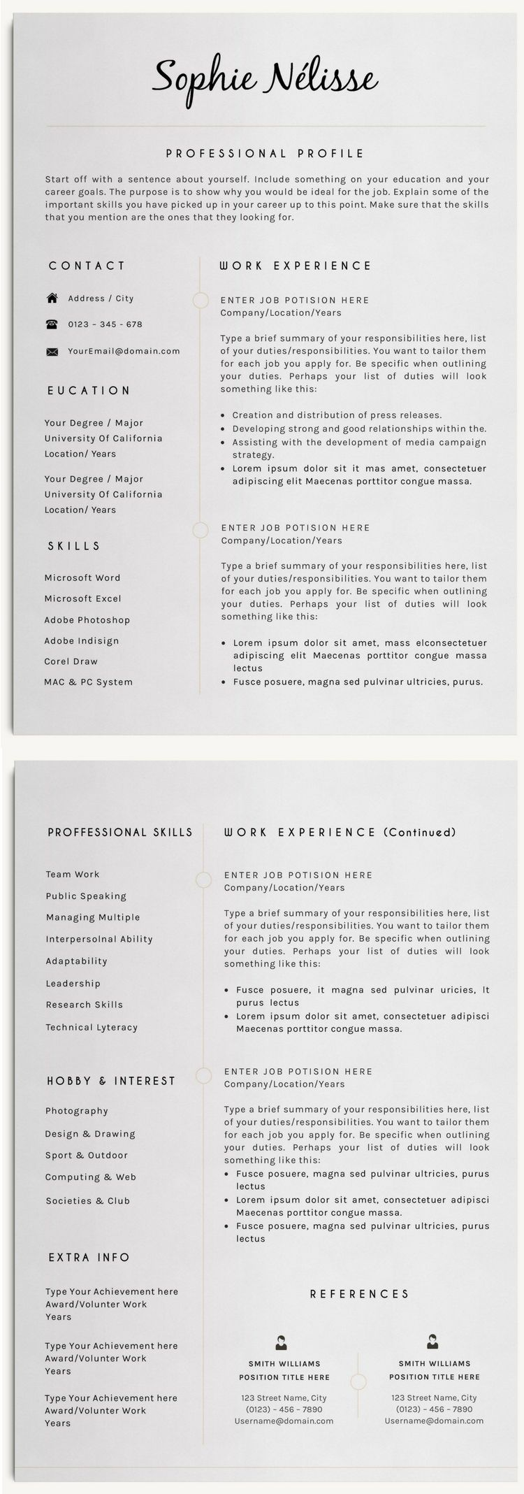 Professional Clear Resume Template for Word Instant