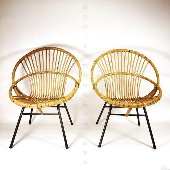 Beau Fauteuil En Bambou Et Rotin Des Années Chairs Co - Fauteuil bambou