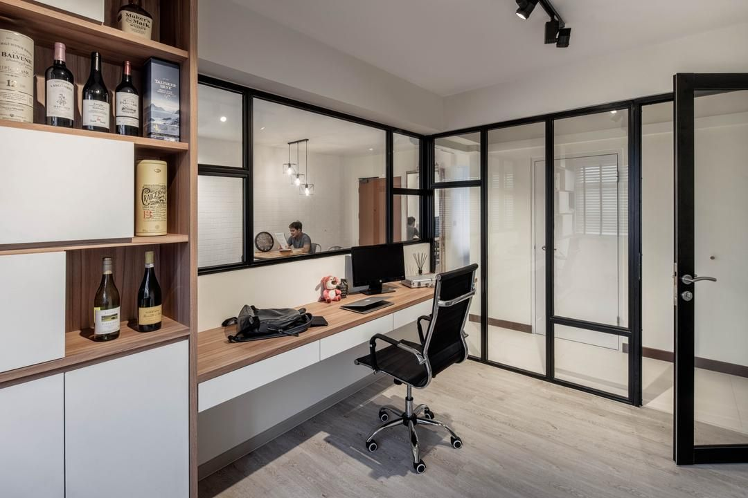 Check Out This Industrial Style Hdb Study And Other Similar Styles On Qanvast Interior Design Singapore Home Office Design Study Interior Design
