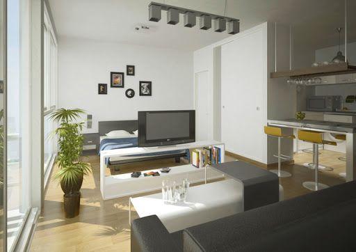 La divisi n de espacios se genera con el televisor for Decoracion monoambiente 30m2