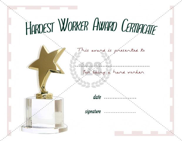 Hardest Worker Award Template Free and Premium Download - award certificates templates