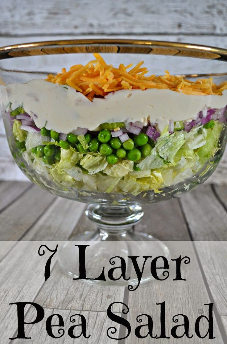 7 Layer Pea Salad Recipe Recipe Layered Salad Recipes Layered Salad Pea Salad
