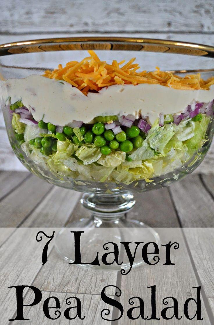 7 Layer Pea Salad Recipe Recipe Layered Salad Recipes Layered Salad Pea Salad
