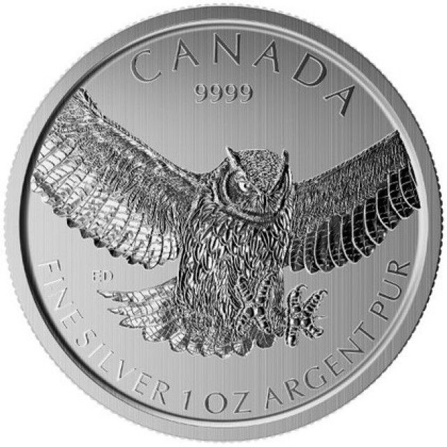 "2015 Silver Maple Leaf Birds of Prey Series /""Great Horned Owl/"" $5-1 oz Pure"