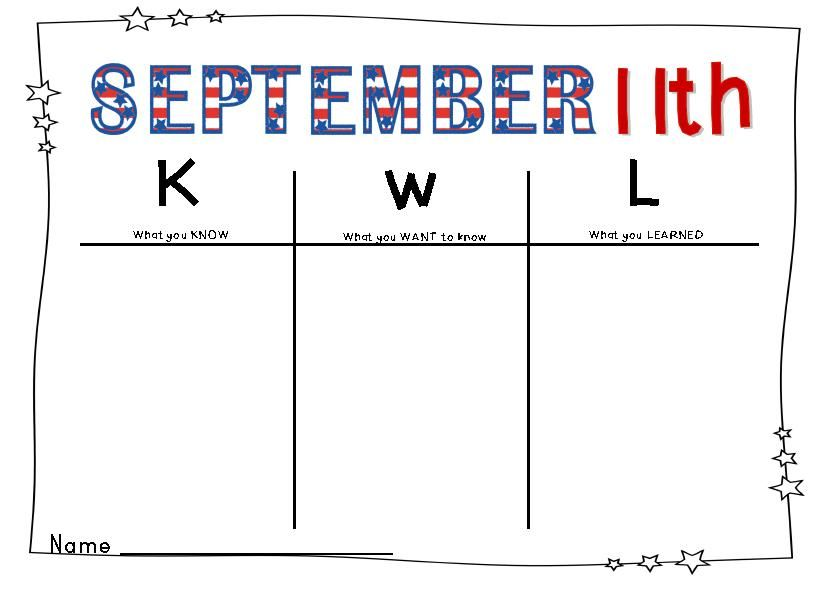 KWL Chart September 11th September 11 Pinterest - kwl chart
