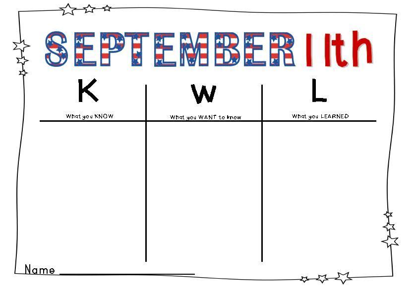 KWL Chart September 11th September 11 Pinterest - kwl chart