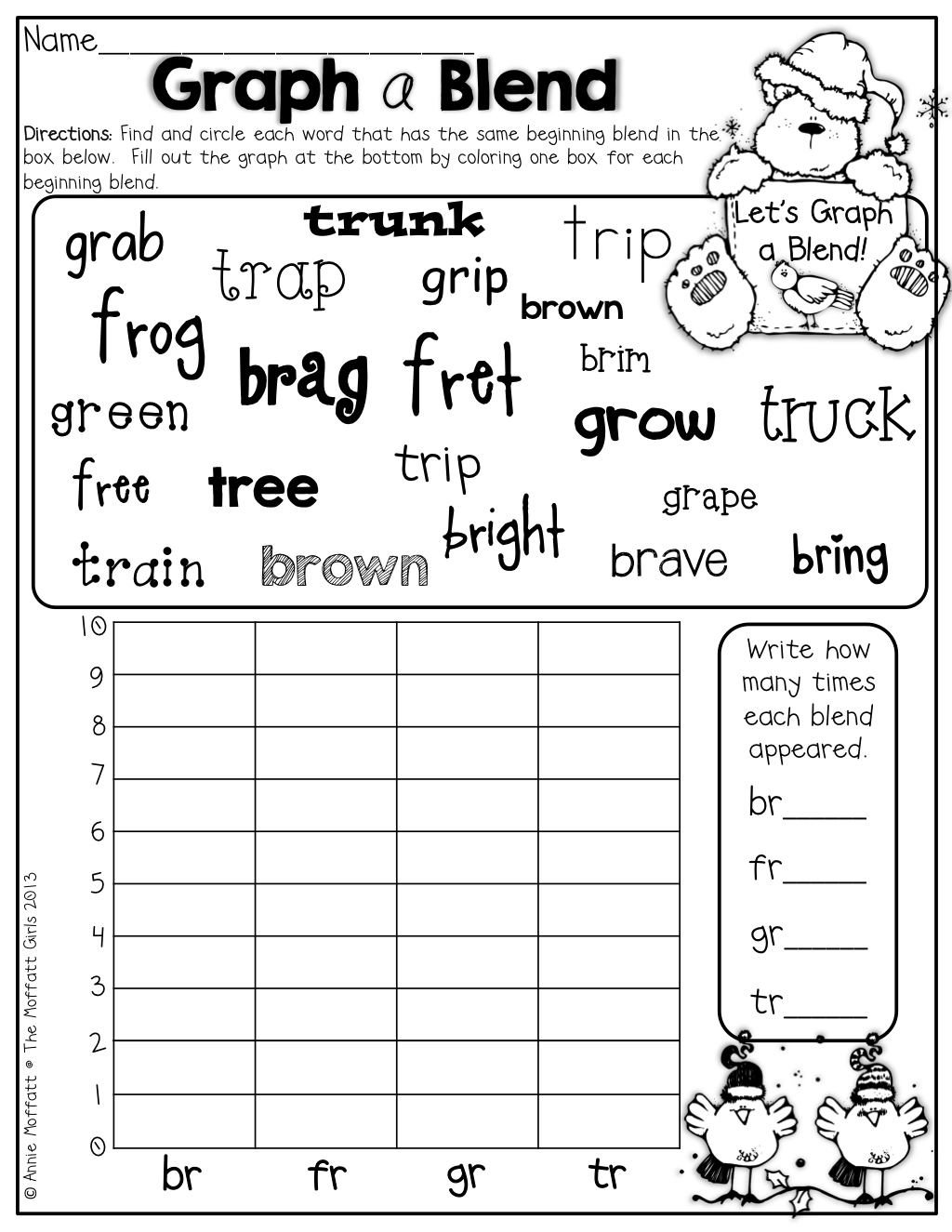 Graph A Blend The Different Fonts Are Great For Helping Students