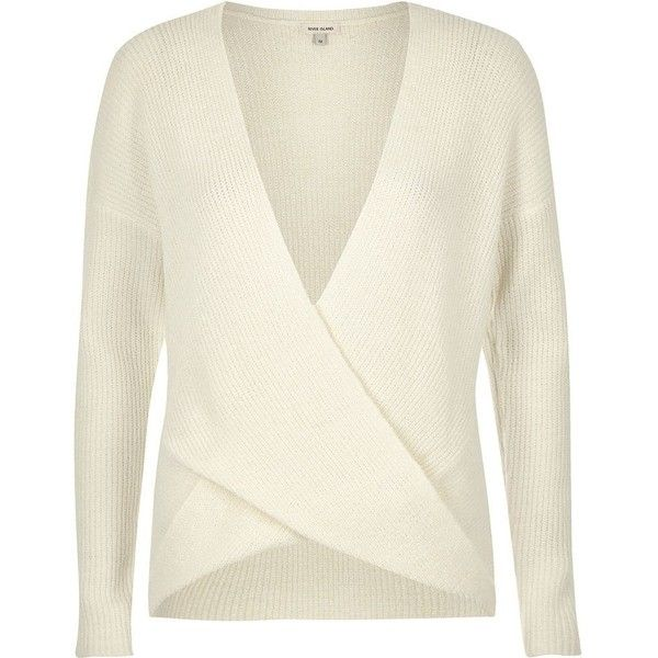 85890d450c1 River Island Cream wrap sweater ($70) ❤ liked on Polyvore featuring ...