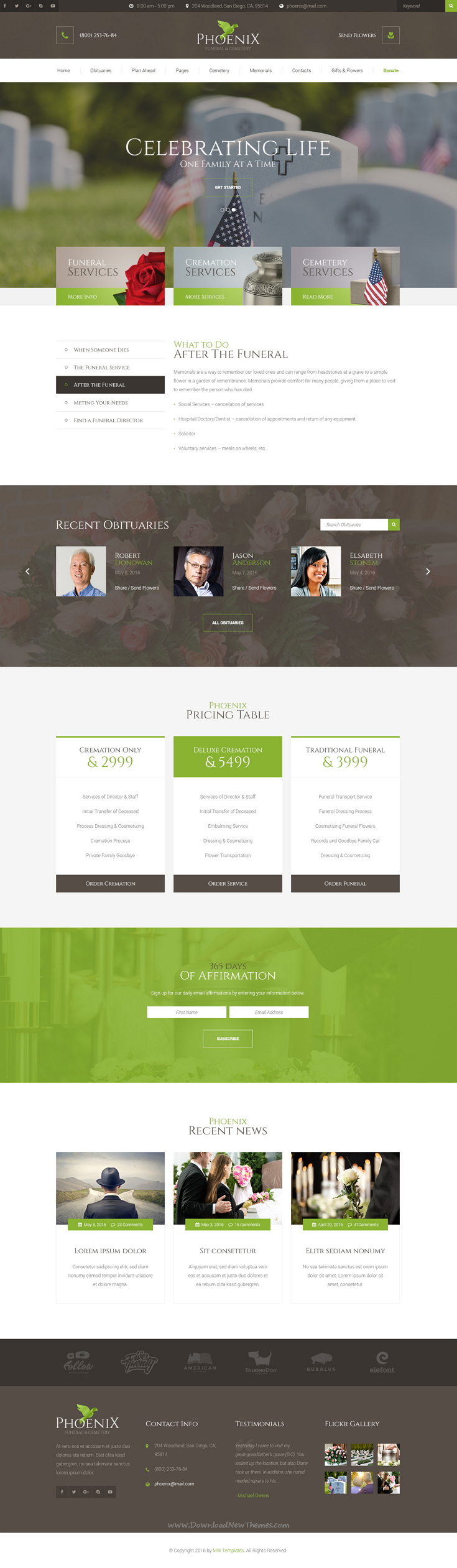 Phoenix - Funeral Service, Funeral Home & Cemetery PSD Template ...