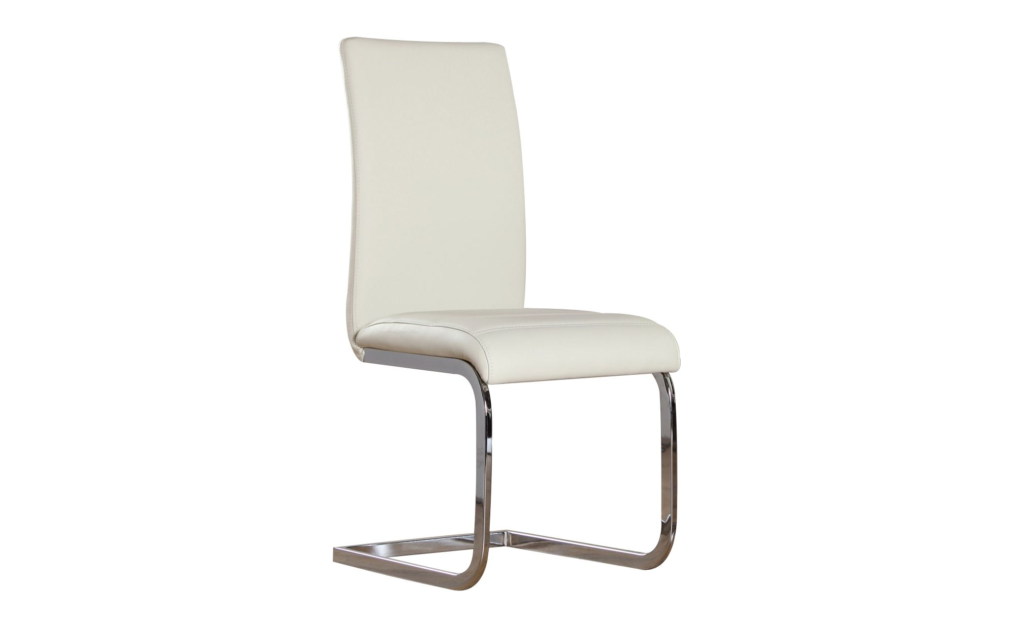 Perth ivory faux leather and chrome dining chairs