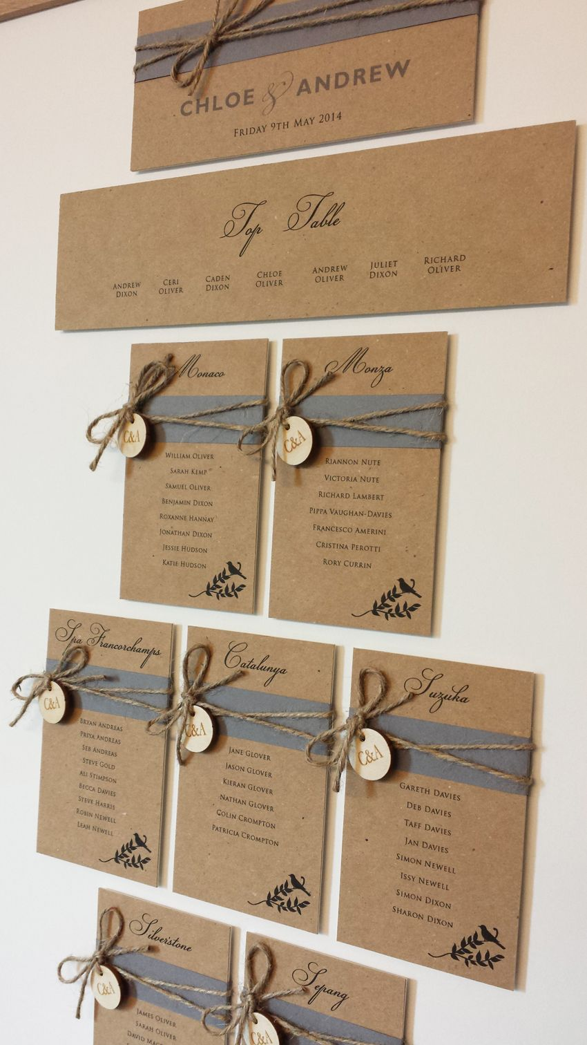 Rustic Wedding Table Plan With Bird Design Grey Belly Bands With Twine And Wooden Tags Beauti Rustic Wedding Table Wedding Table Planner Seating Plan Wedding