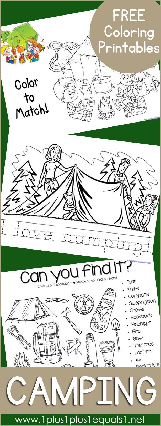 Free Camping Coloring Printables ~ Coloring activities and coloring ...
