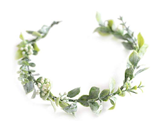Amazon Com Fiddy898 Artificial Floral Crown Green Flower Crown Floral Bridal Headpiece For Photo Pro Floral Crown Bridal Floral Headpiece Bohemian Bridal Hair